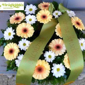 Görög koszorú körben díszített vegyes virágokból gerberával 8821